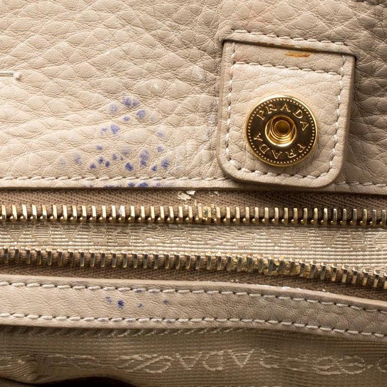 Prada Beige Leather Vitello Diano Side Zip Tote For Sale 1