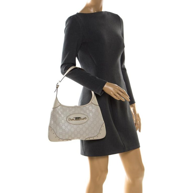Gucci Cream Guccissima Leather Medium Jackie Hobo Bag In Good Condition For Sale In Dubai, Al Qouz 2
