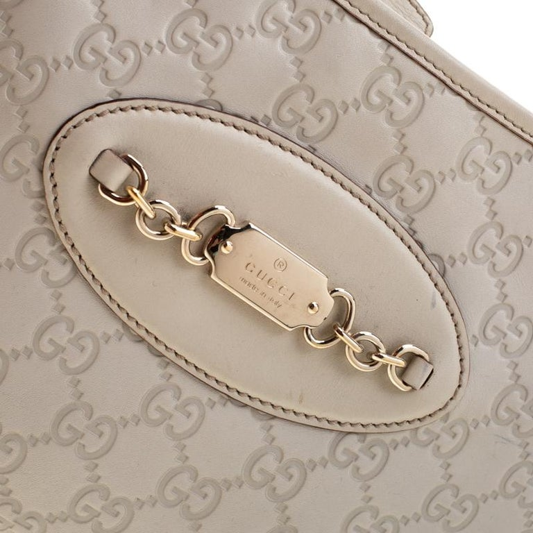 Gucci Cream Guccissima Leather Medium Jackie Hobo Bag For Sale 3