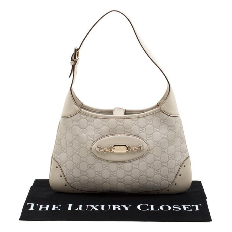 Gucci Cream Guccissima Leather Medium Jackie Hobo Bag For Sale 8