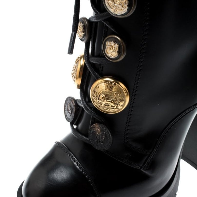 Women's Dolce and Gabbana Black Leather Gold Embossed Button Combat Boots Size 37.5 For Sale