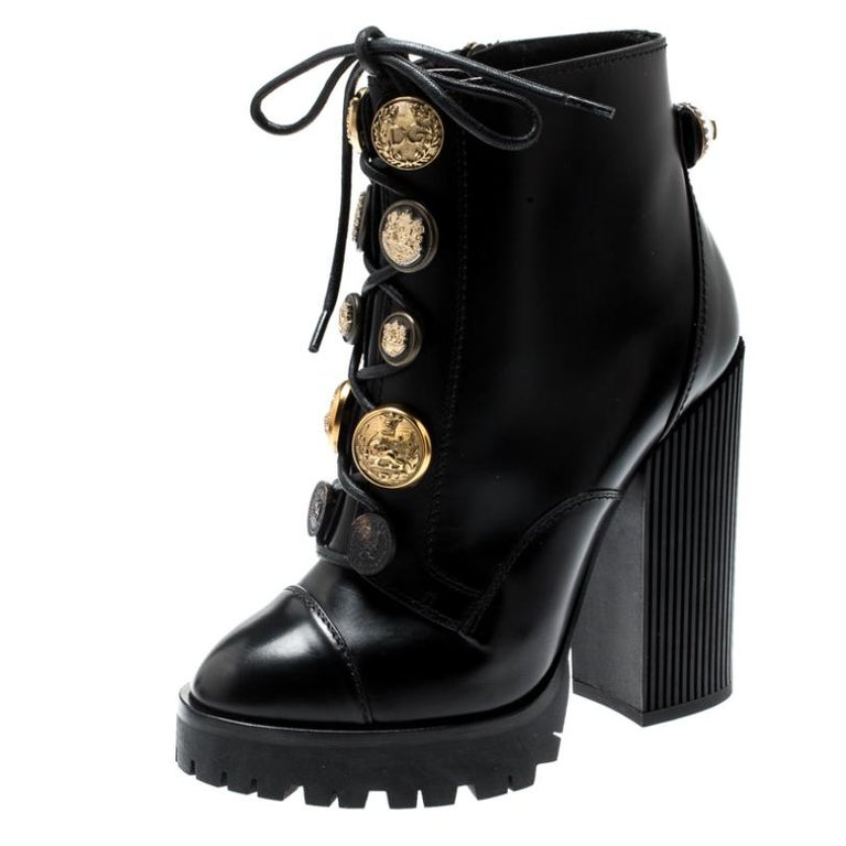 Dolce and Gabbana Black Leather Gold Embossed Button Combat Boots Size 37.5 For Sale