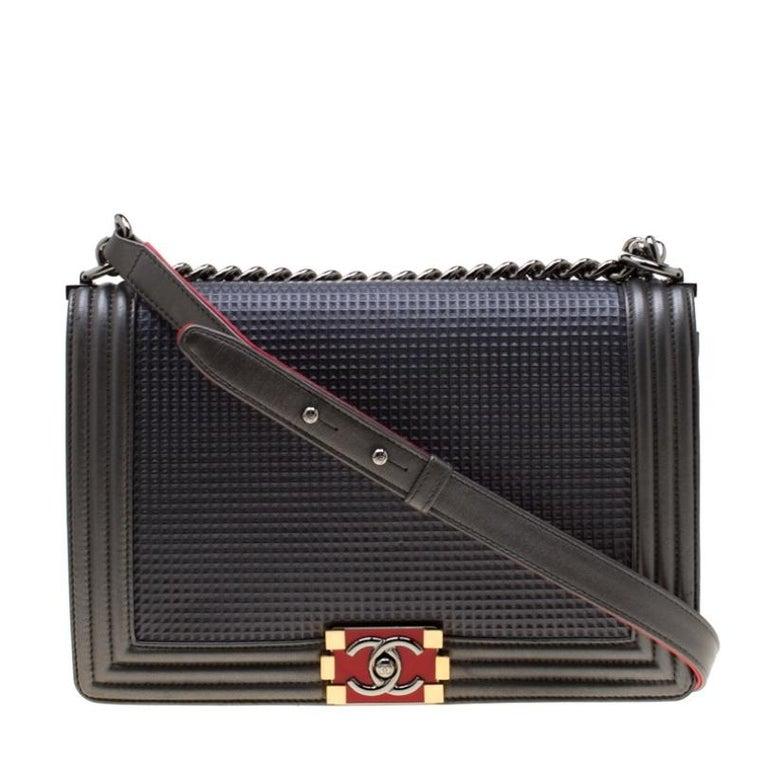 Chanel Dark Grey Cube Embossed Leather Jumbo Boy Flap Bag For Sale