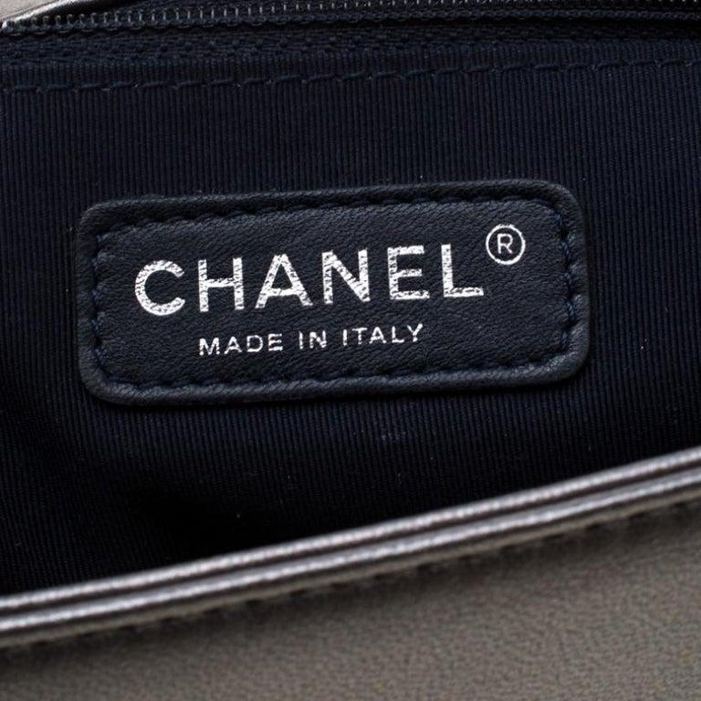 Chanel Dark Grey Cube Embossed Leather Jumbo Boy Flap Bag For Sale 5