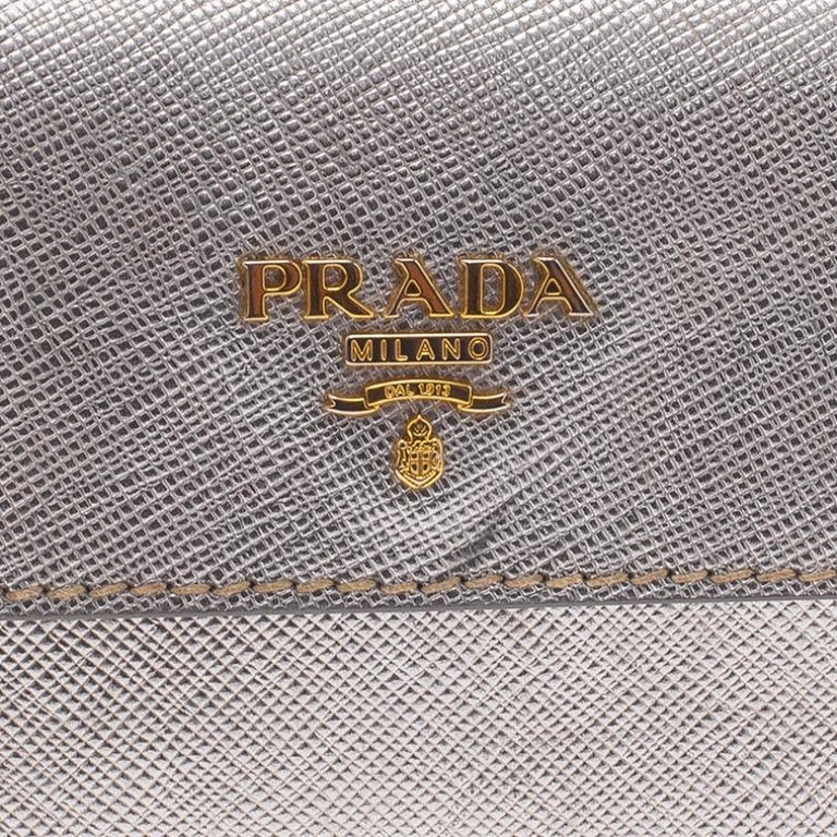 Prada Silver Saffiano Leather Mini Box Clutch For Sale 3