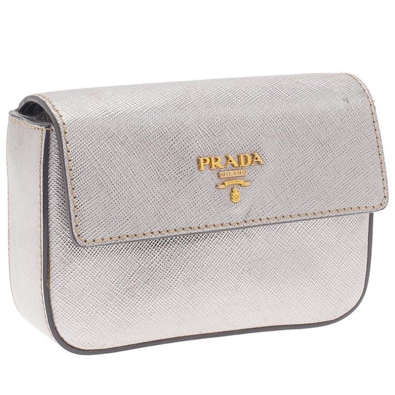 Prada Silver Saffiano Leather Mini Box Clutch In Good Condition For Sale In Dubai, Al Qouz 2