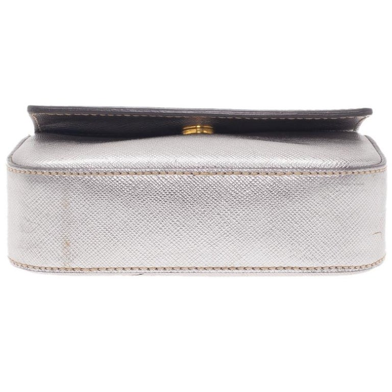 Women's Prada Silver Saffiano Leather Mini Box Clutch For Sale