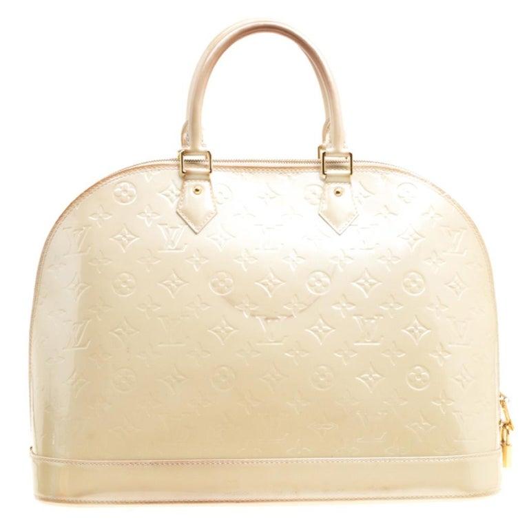 Louis Vuitton Perle Monogram Vernis Alma GM Bag For Sale 9