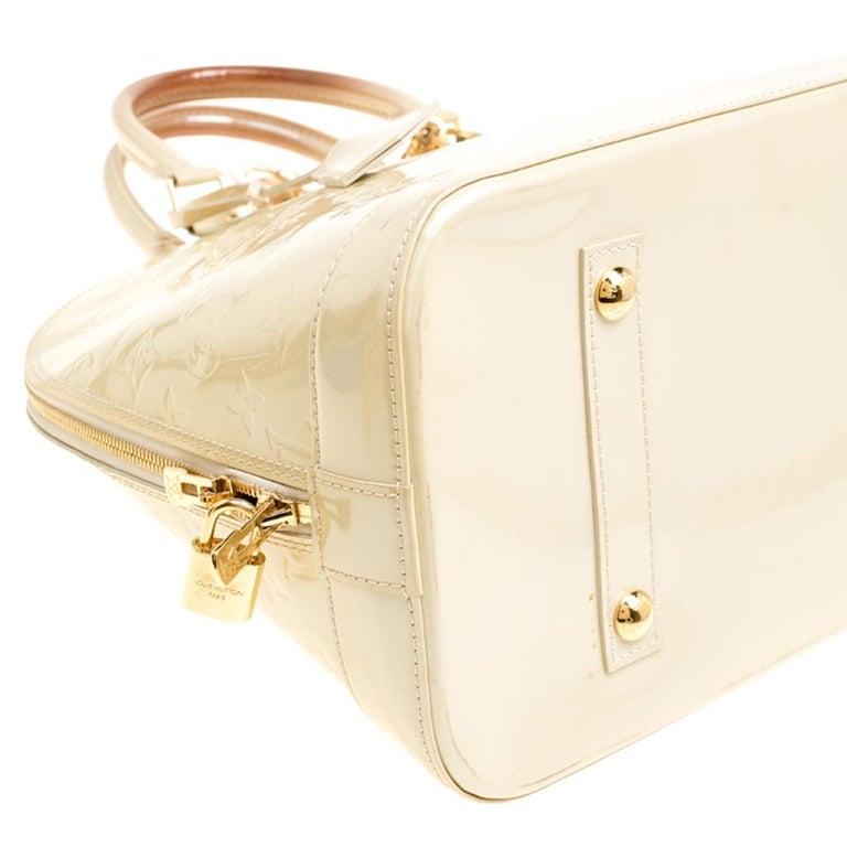 Louis Vuitton Perle Monogram Vernis Alma GM Bag For Sale 2