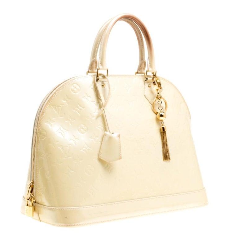 Louis Vuitton Perle Monogram Vernis Alma GM Bag For Sale 8