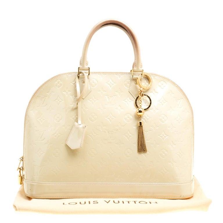 Louis Vuitton Perle Monogram Vernis Alma GM Bag For Sale 3