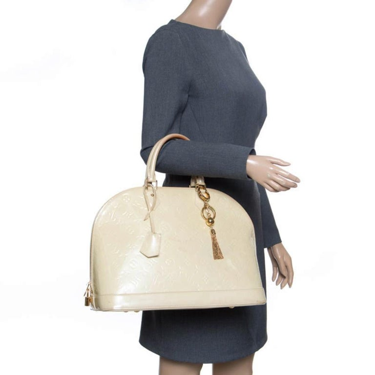 Louis Vuitton Perle Monogram Vernis Alma GM Bag For Sale 6