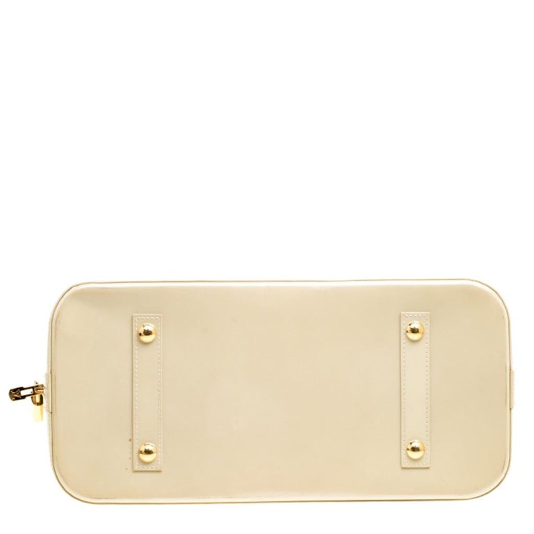 Louis Vuitton Perle Monogram Vernis Alma GM Bag For Sale 7