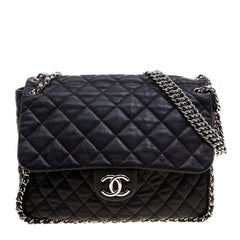 Chanel Black Leather Maxi Chain Around Flap Shoulder Bag