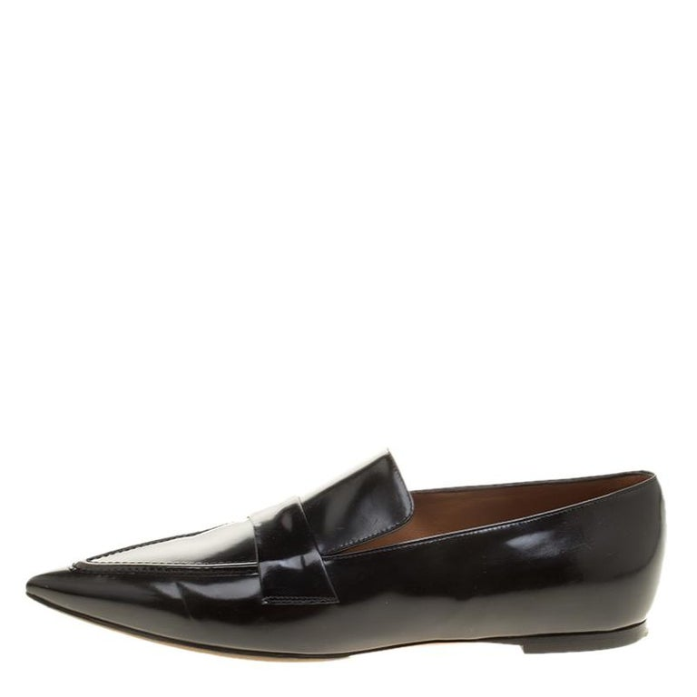 Celine Black Leather Pointed Toe Loafers Size 36