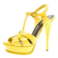 Saint Laurent Paris Yellow Patent Leather Tribute Platform Sandals Size 38