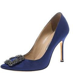 Manolo Blahnik Blue Embellished Satin Hangisi Pumps Size 37