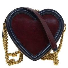 Stella McCartney Burgundy/Black Faux Leather Sailor Heart Crossbody Bag