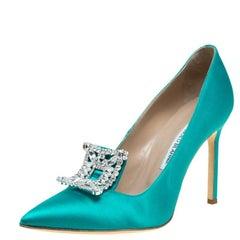 Manolo Blahnik Turquoise Satin Borlak Crystal Embellished Pumps Size 40