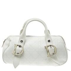 Dior White Cannage Leather Boston Bag