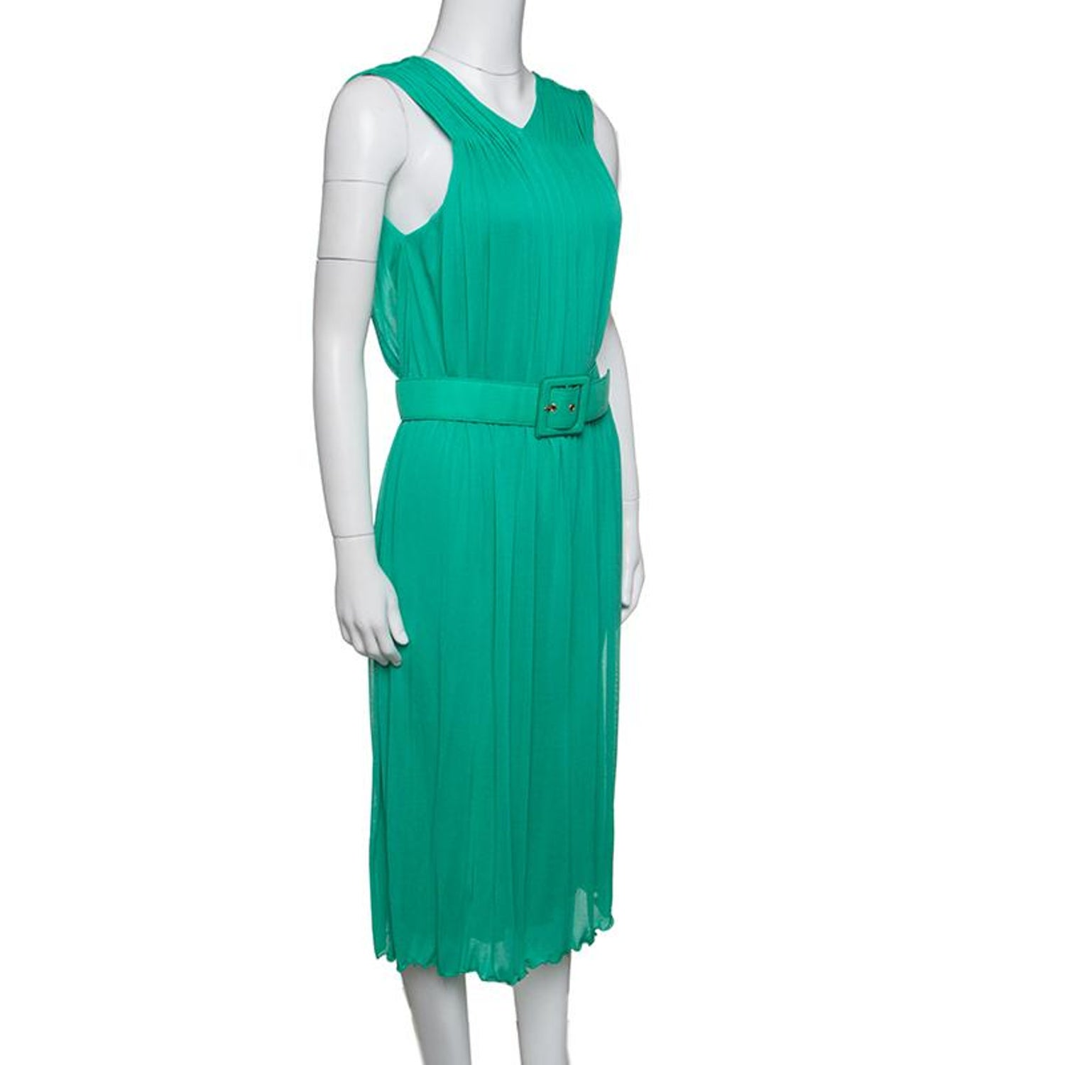 4ca61825ab752 Gucci Mint Green Pleated Sleeveless Belted Dress M For Sale at 1stdibs