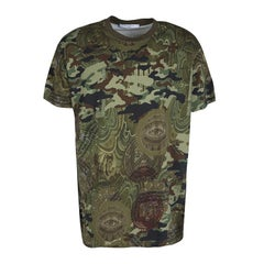 Givenchy Green Camouflage Print Crew Neck Columbian Fit Cotton T-Shirt M
