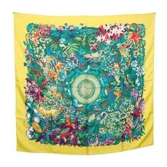 Hermes Yellow Au Coeur De La Vie Printed Silk Square Scarf