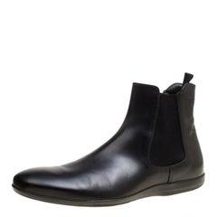 Prada Black Leather Chelsea Boots Size 44