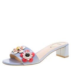 Fendi Powder Blue Patent Leather Flowerland Embellished Block Heel Slides Size 3