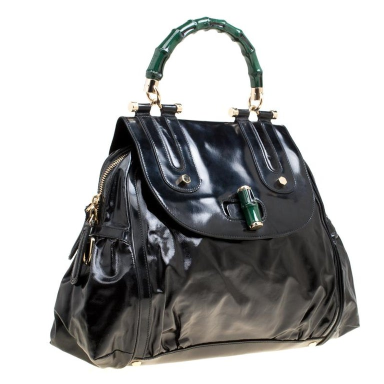 Gucci Black Coated Nylon and Leather Dialux Pop Bamboo Top Handle Bag For Sale 6
