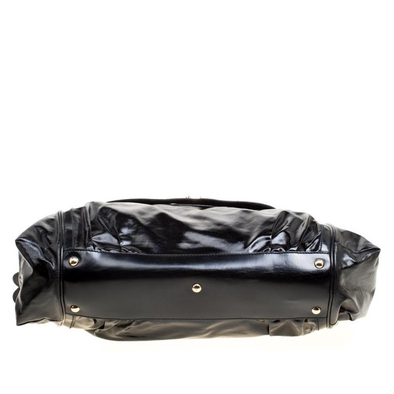 Gucci Black Coated Nylon and Leather Dialux Pop Bamboo Top Handle Bag For Sale 4