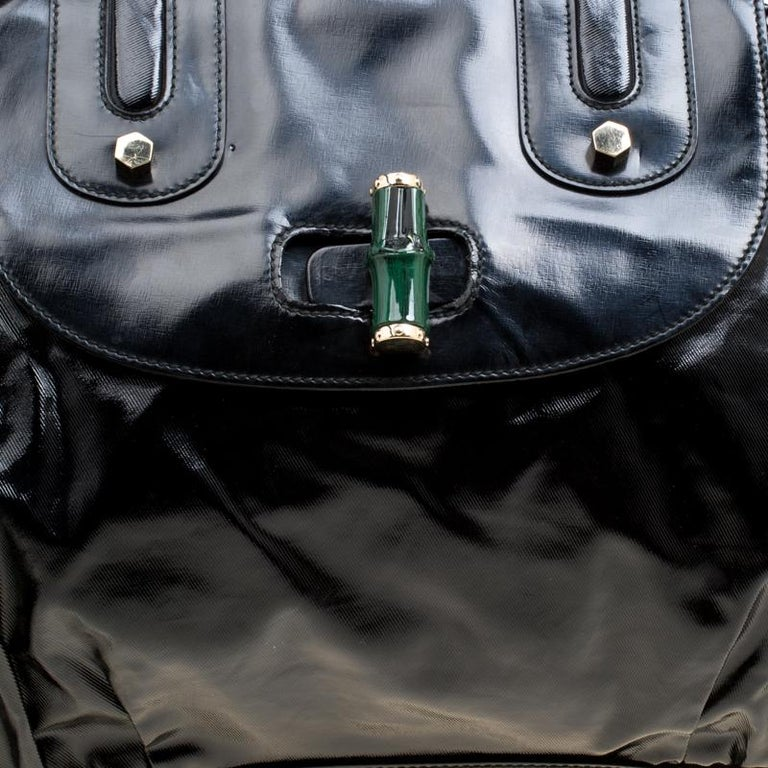 Gucci Black Coated Nylon and Leather Dialux Pop Bamboo Top Handle Bag For Sale 7