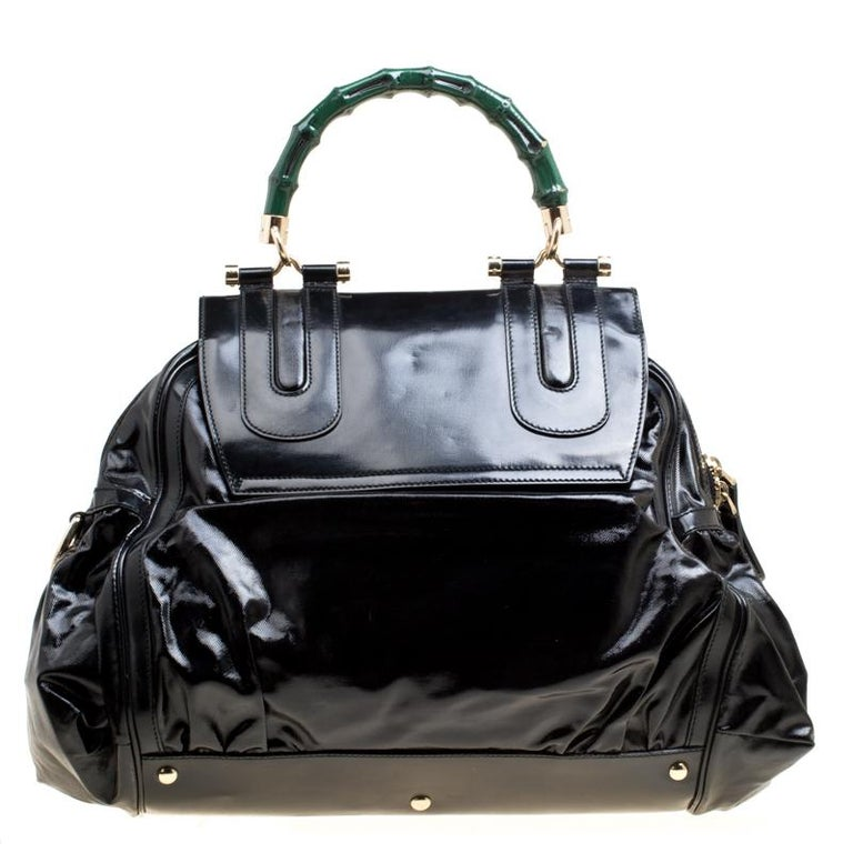 Gucci Black Coated Nylon and Leather Dialux Pop Bamboo Top Handle Bag For Sale 5