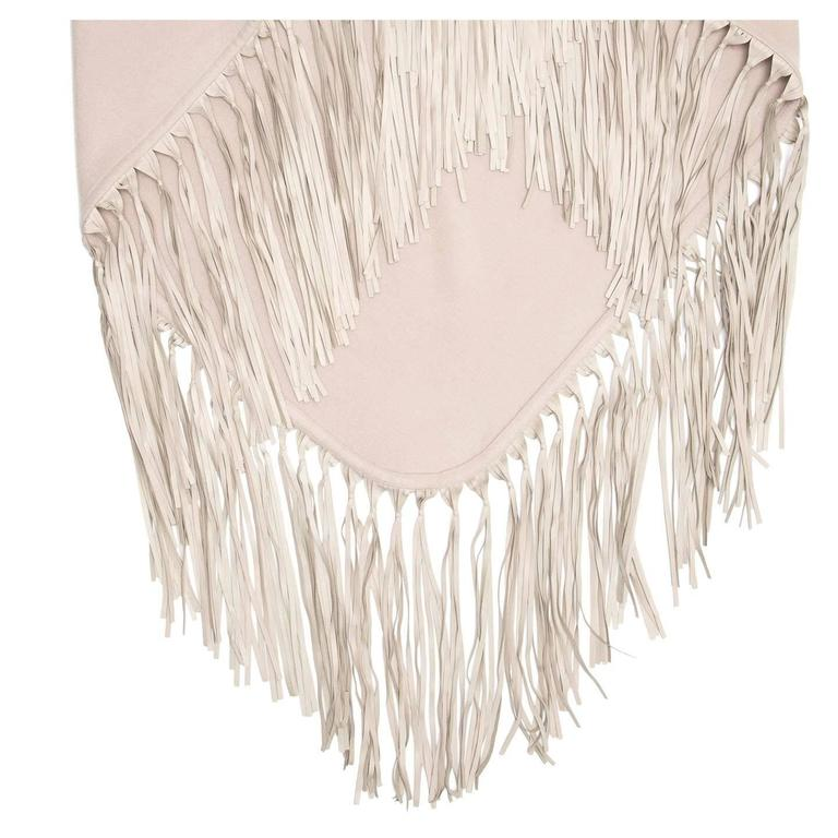 Hermès Taupe Triangular Fringed Shawl 2