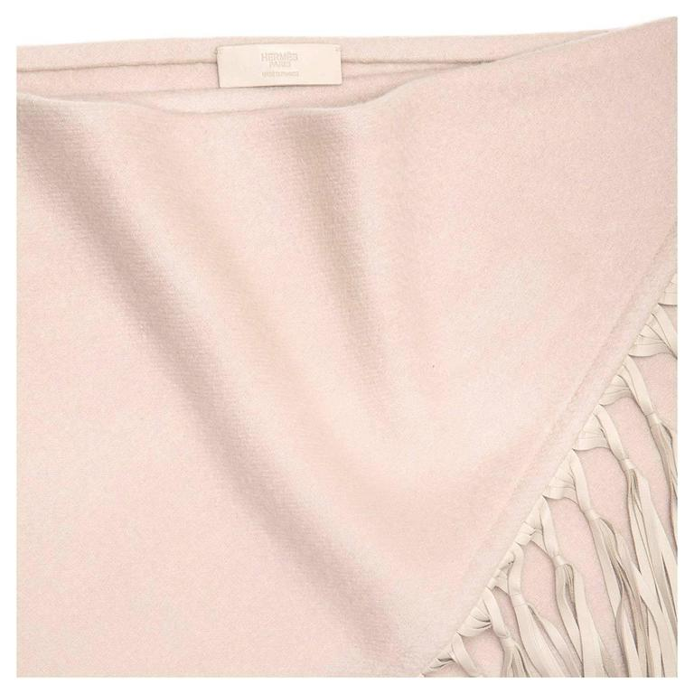 Hermès Taupe Triangular Fringed Shawl 3