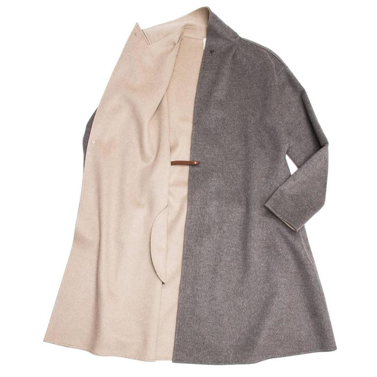 Gray Hermès Cashmere Belted Coat For Sale