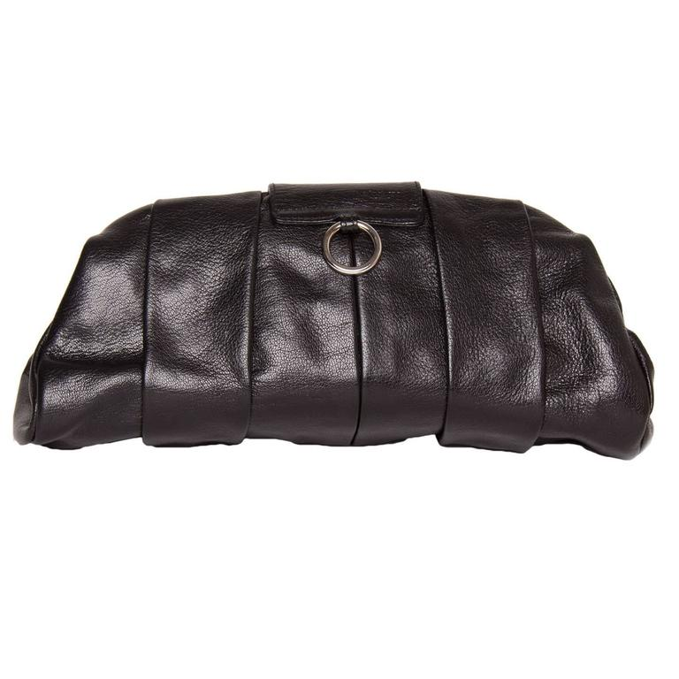Yves Saint Laurent Lip Closure Black Clutch Bag 2