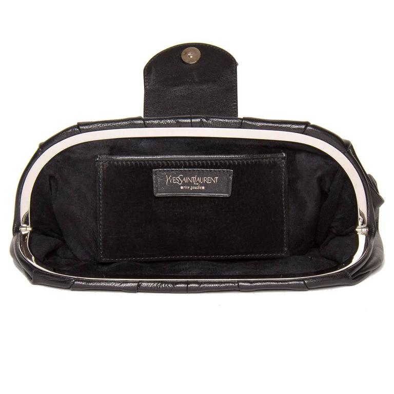 726d91dac6 Yves Saint Laurent Lip Closure Black Clutch Bag For Sale at 1stdibs