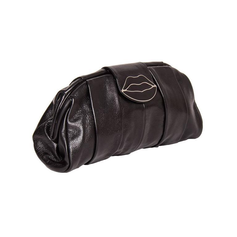 Yves Saint Laurent Lip Closure Black Clutch Bag 3
