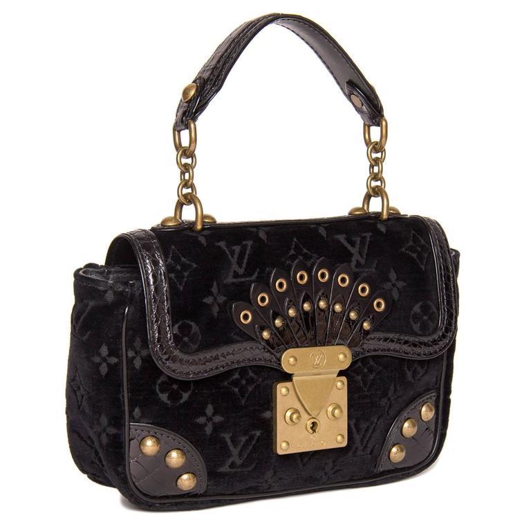 Louis Vuitton Black Velvet & Crocodile Small Bag 3