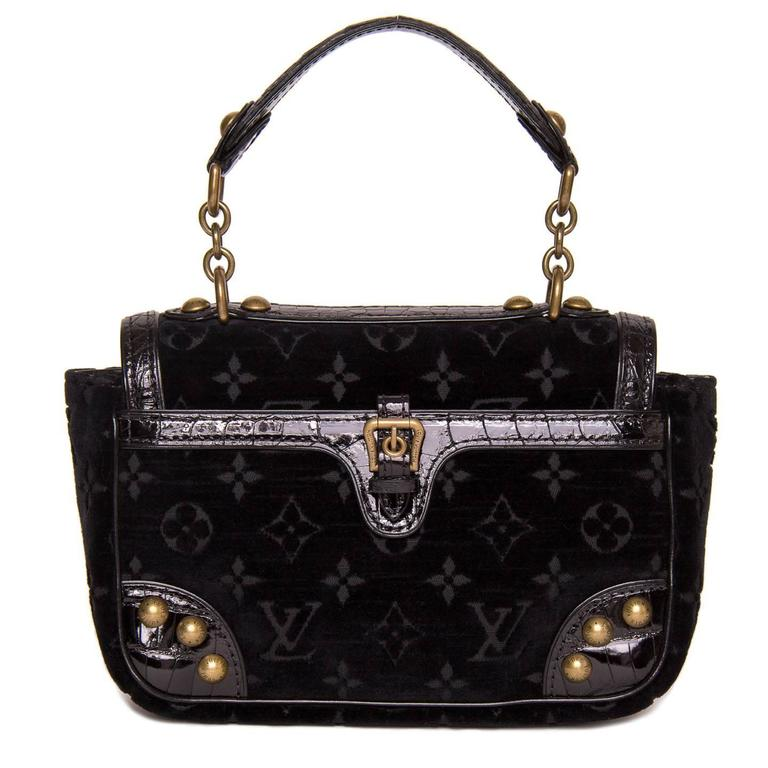 Louis Vuitton Black Velvet & Crocodile Small Bag 2
