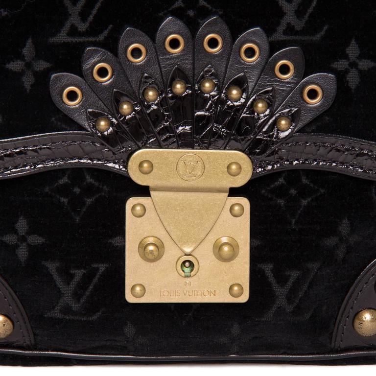 Louis Vuitton Black Velvet & Crocodile Small Bag 4