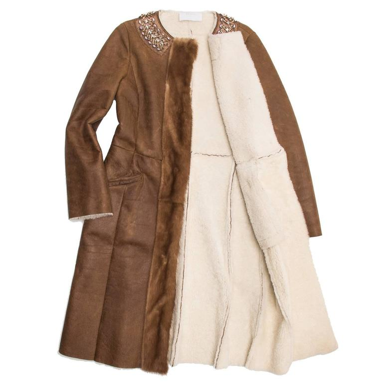 Prada Brown Shearling & Leather Coat In Excellent Condition For Sale In Brooklyn, NY
