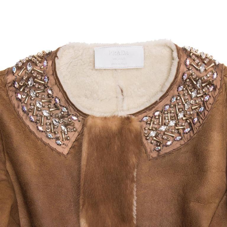 Prada Brown Shearling & Leather Coat 4