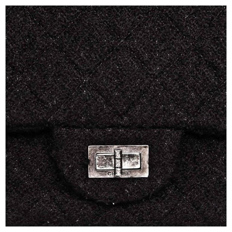 Chanel Black Quilted Wool Large Bag 4