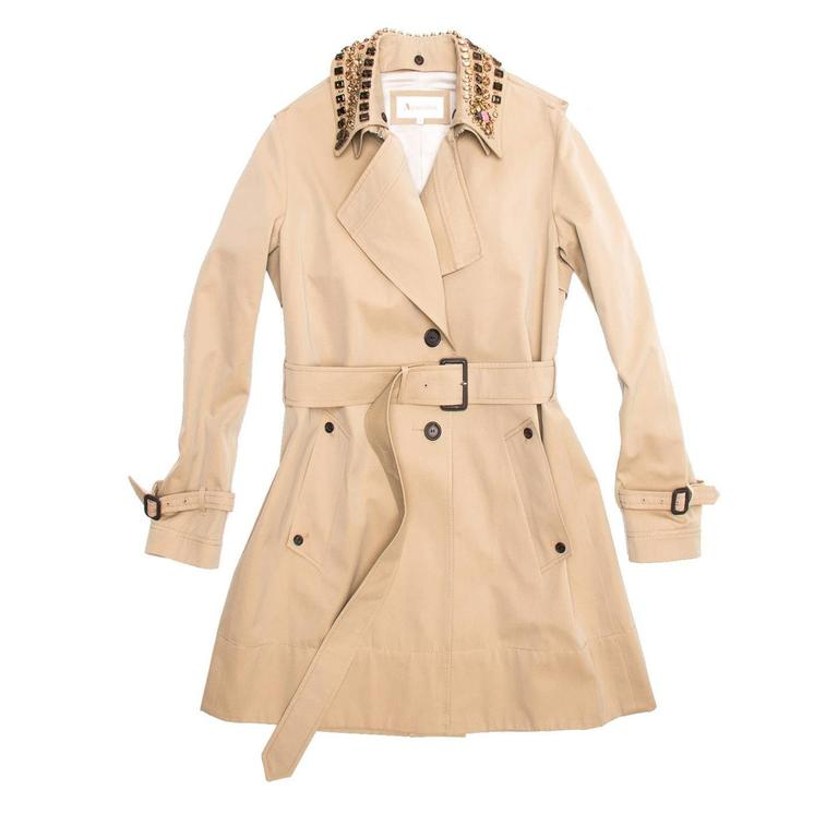 Aquascutum Khaki Jewel Collar Trench Coat