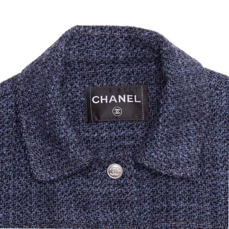 Chanel Indigo Wool Short Trucker Style Jacket 3