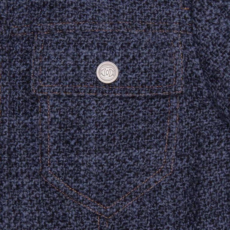 Chanel Indigo Wool Short Trucker Style Jacket 4