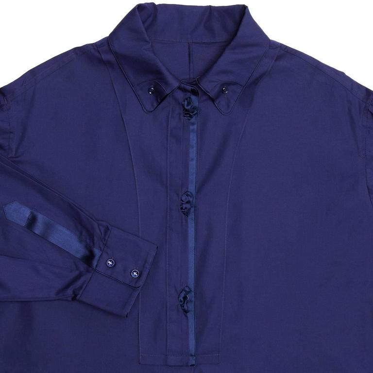 Yves Saint Laurent Royal Blue Silk & Cotton Shirt Dress 3