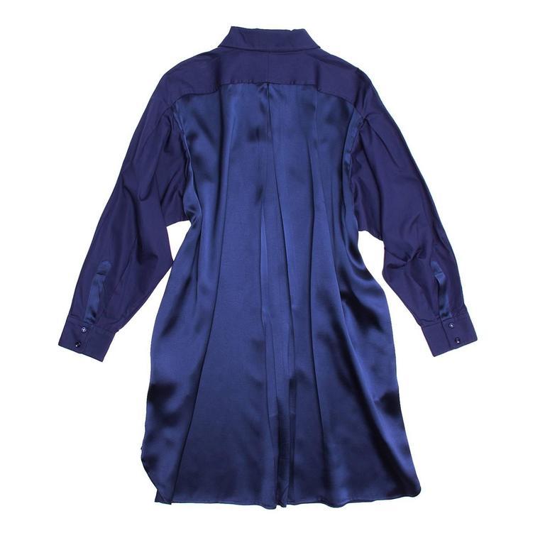 Yves Saint Laurent Royal Blue Silk & Cotton Shirt Dress 2